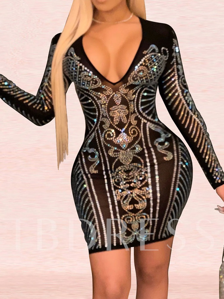 See-Through V-Neck Above Knee Long Sleeve Sexy Women's Dress