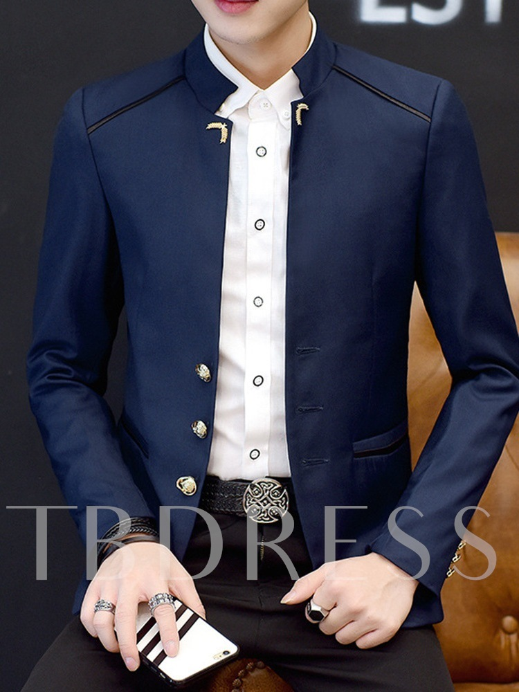 Stand Collar Fashion Single-Breasted Slim Men's leisure Suit