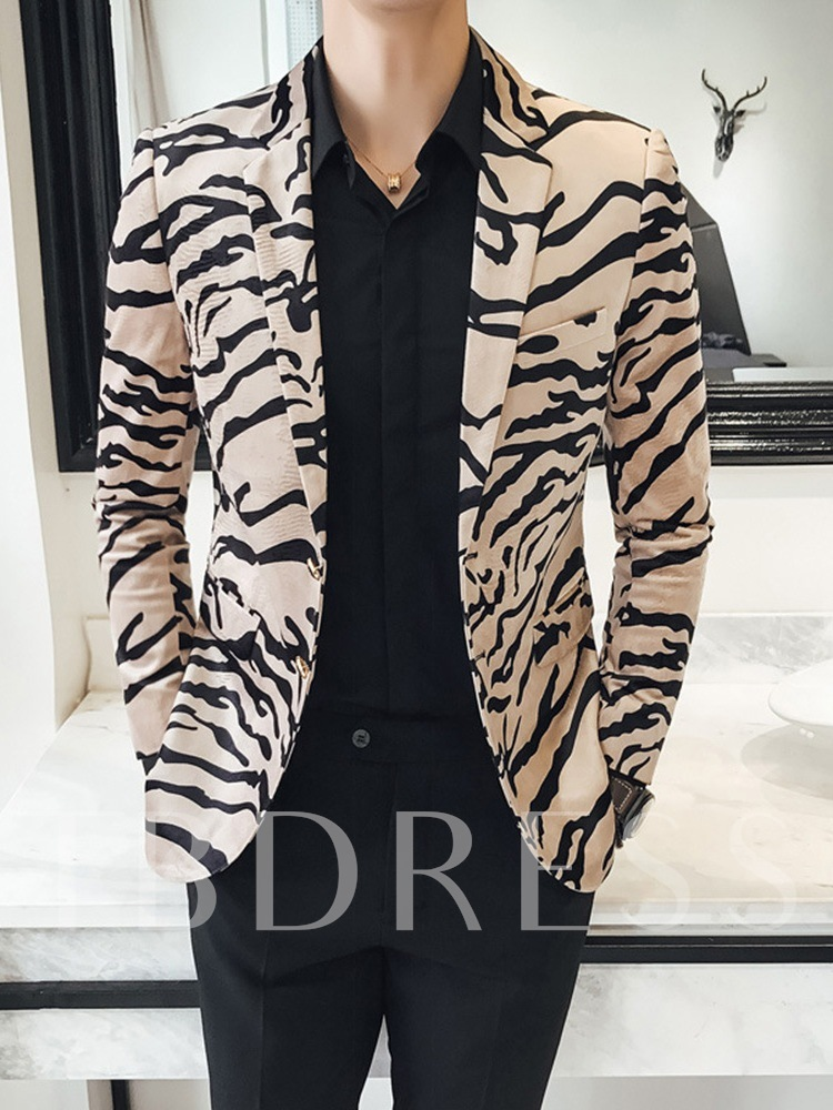 Slim Print Fashion Notched Lapel Men's leisure Suit