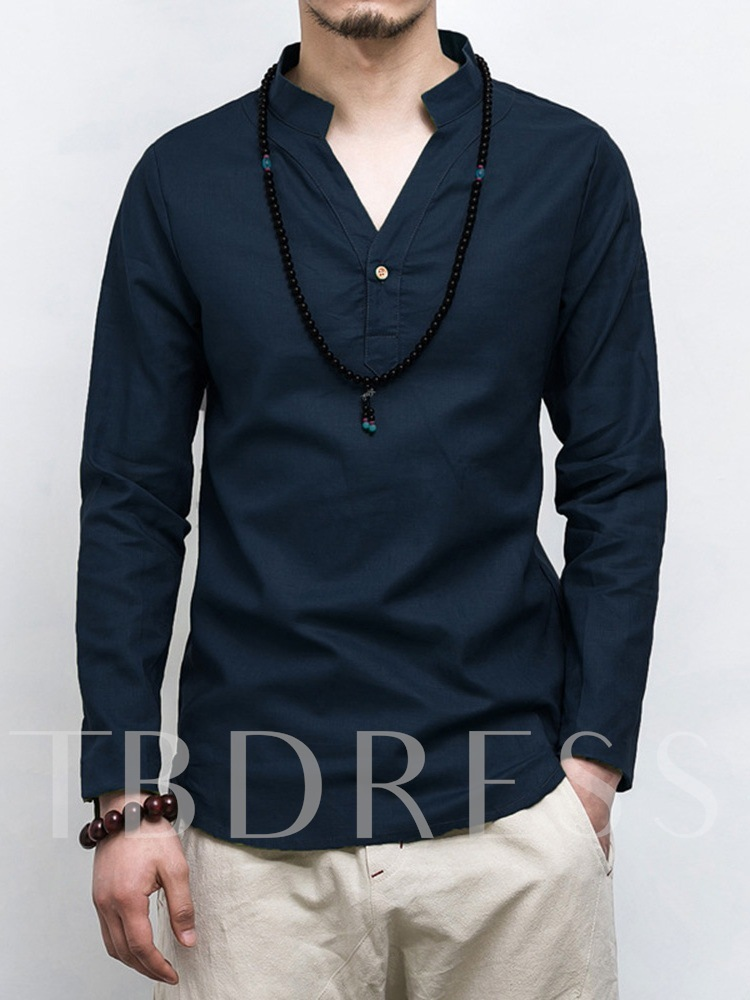 Plain Stand Collar Vintage Slim Men's Shirt