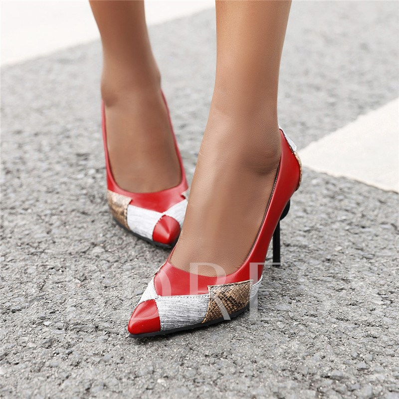 Pointed Toe Slip-On Thread Stiletto Heel Low-Cut Upper Thin Shoes