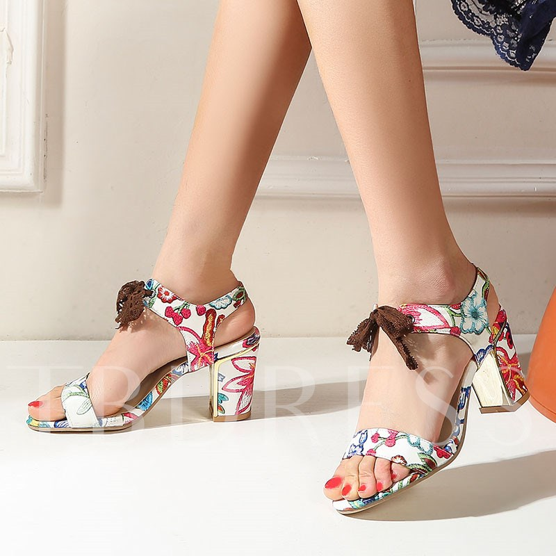Slip-On Open Toe Chunky Heel Bow Sandals
