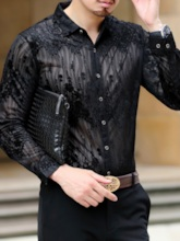 Embroidery Floral Lapel Casual Slim Men's Shirt