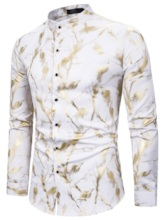 Color Block Print Stand Collar Casual Single-Breasted Men's Shirt