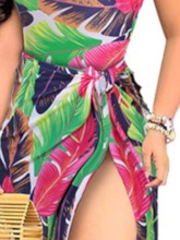 Backless Travel Look Plant Lace-Up Prints Floor-Length Women's Two Piece Sets