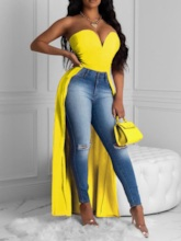 Off Shoulder Polyester Sexy V-Neck Long Women's Tank Top