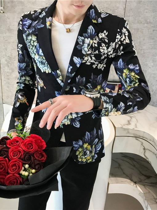 Print Slim Casual Notched Lapel Men's leisure Suit