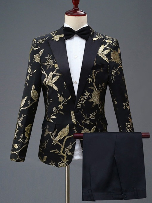 One Button Blazer Floral Embroidery Men's Dress Suit