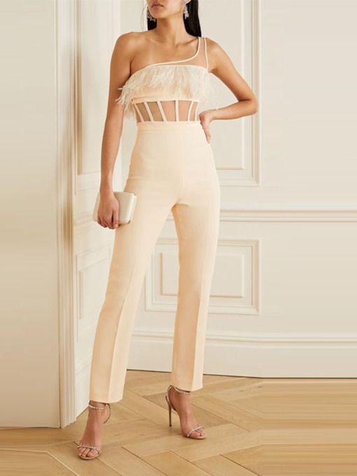 Sexy Asymmetric Plain Ankle Length Straight Women's Jumpsuit