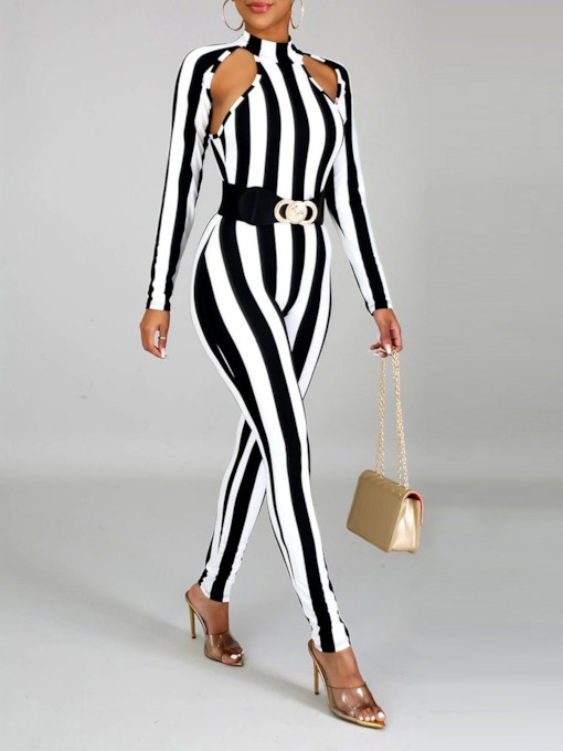 Western Hollow Stripe Full Length Pencil Pants Women's Jumpsuit