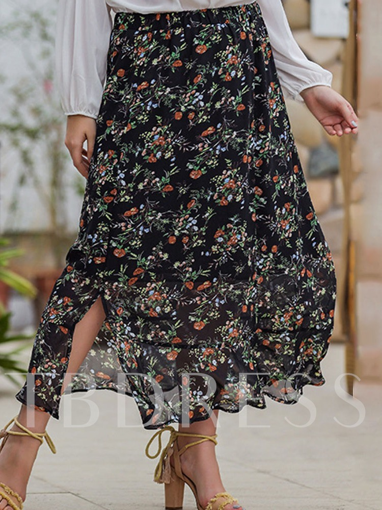 Floral A-Line Ankle-Length Print Travel Look Women's Skirt