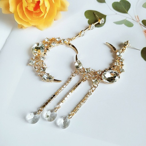 Alloy Sweet Moon Wedding Earrings