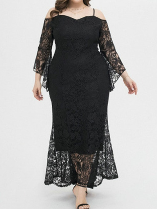 Plus Size Floor-Length Lace Nine Points Sleeve Floral Women's Dress