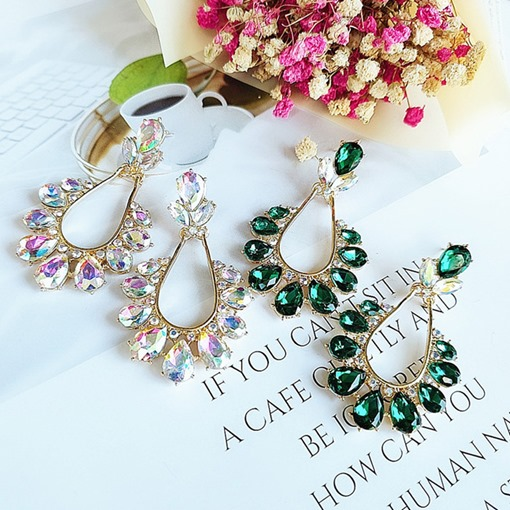 Alloy Sweet Crystal Inlaid Holiday Earrings