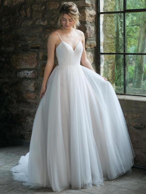 Spaghetti Straps A-Line Beading Floor-Length Church Wedding Dress 2021