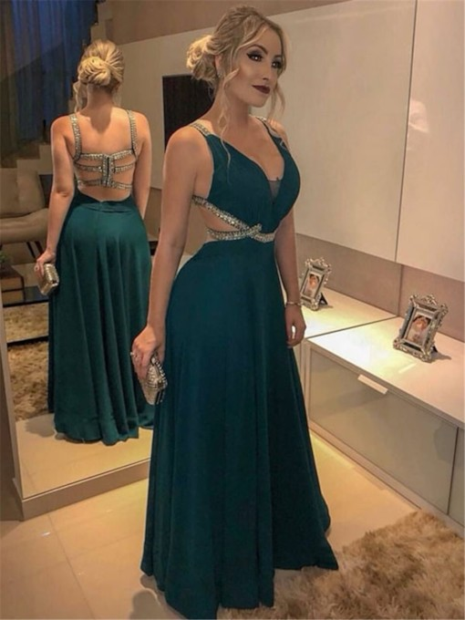 Floor-Length A-Line Beading Straps Evening Dress 2020
