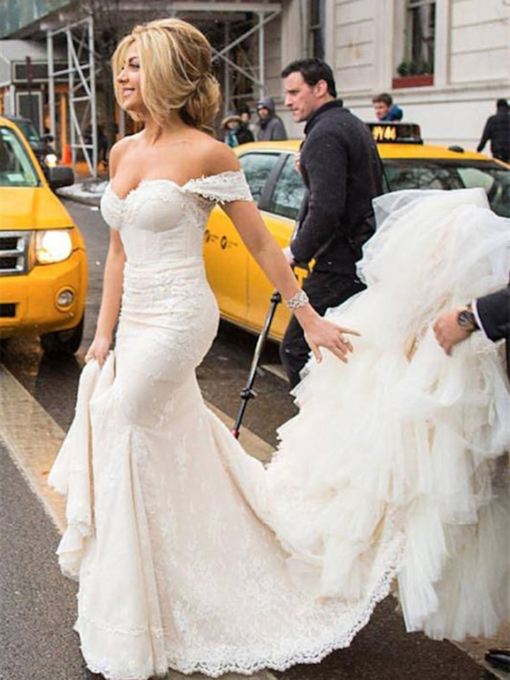 Cathedral Sleeveless Off-The-Shoulder Trumpet Church Wedding Dress 2021