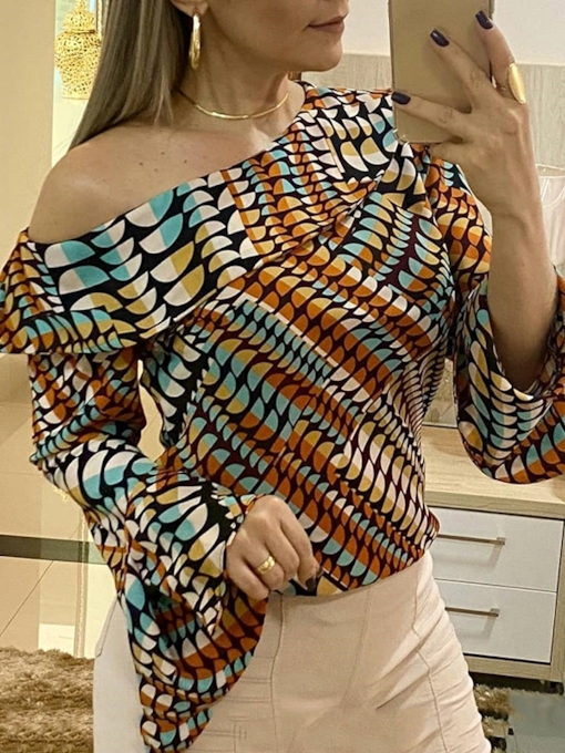 Flare Sleeve Print Long Sleeve Women's Blouse