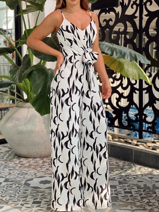 Full Length Print Casual Straight Women's Jumpsuit