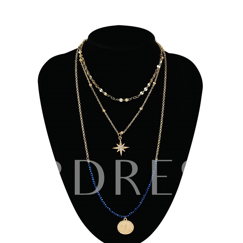 Color Block Diamante Pendant Necklace Female Necklaces