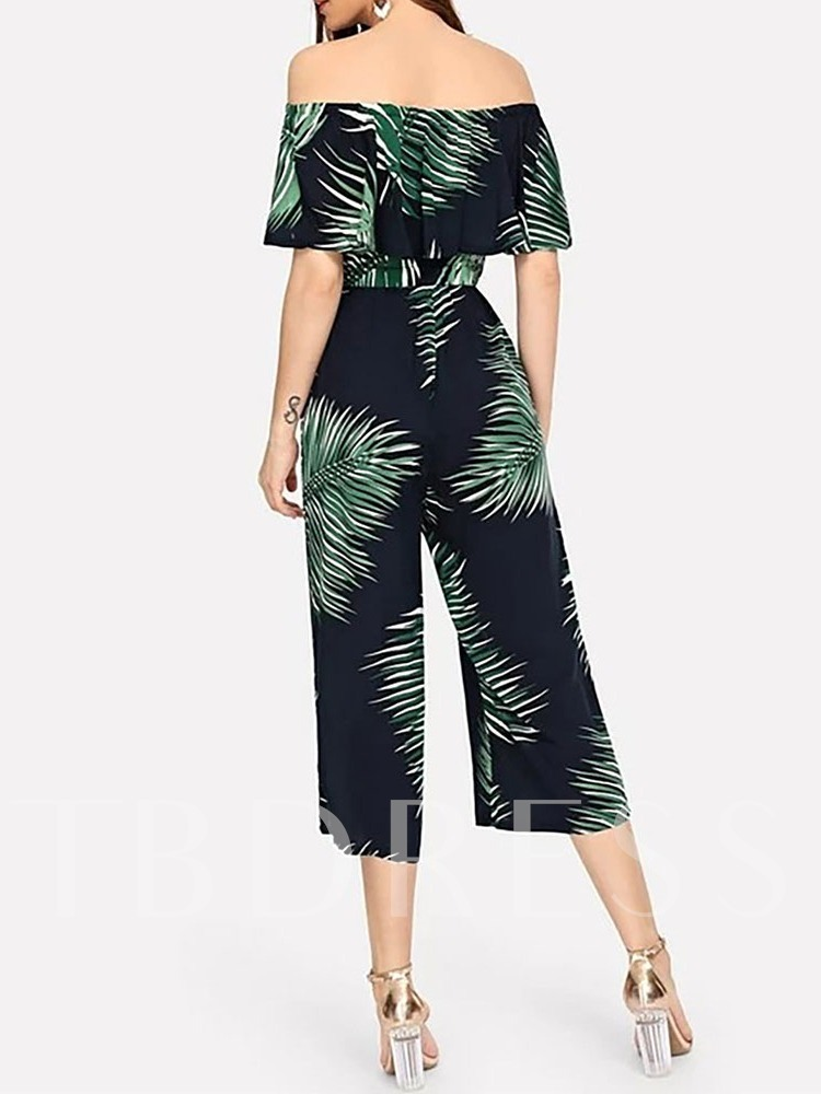Travel Look Plant Mid-Calf Print Loose Women's Jumpsuit
