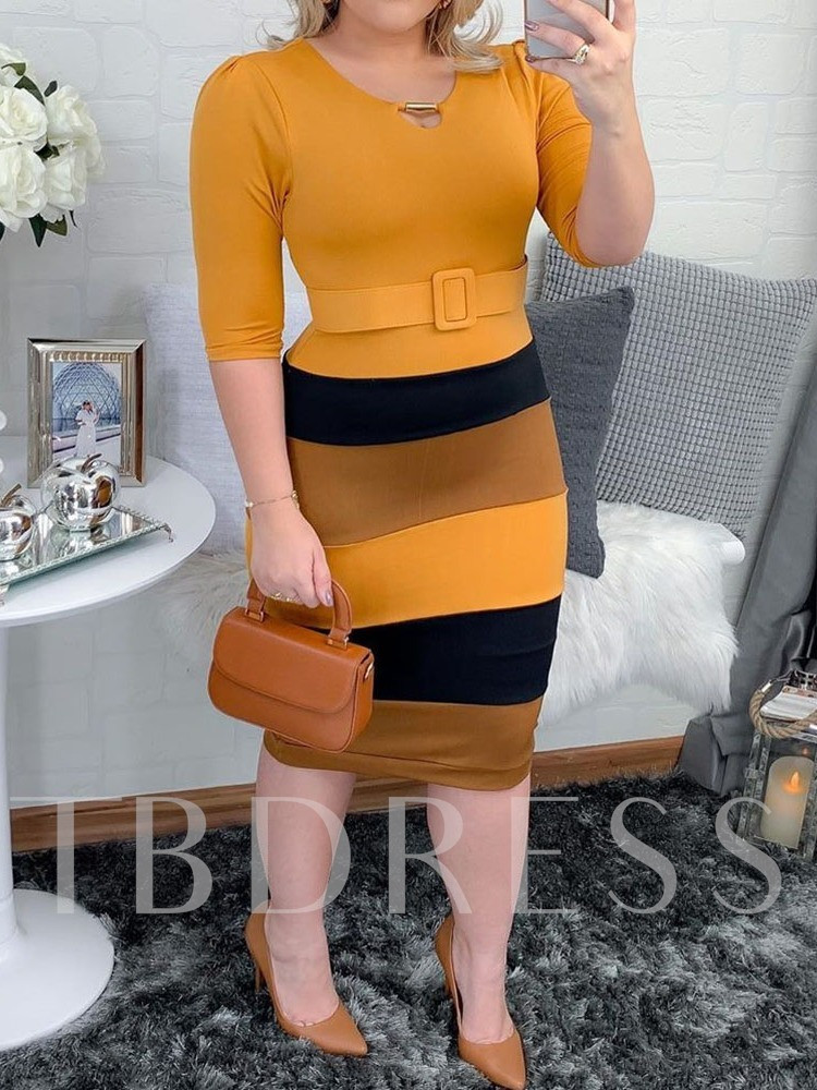 Plus Size Mid-Calf Round Neck Three-Quarter Sleeve Pullover Office Lady Women's Dress