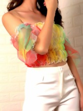 Off Shoulder Colorful Puff Sleeve Mesh Short Sleeve Women's Blouse