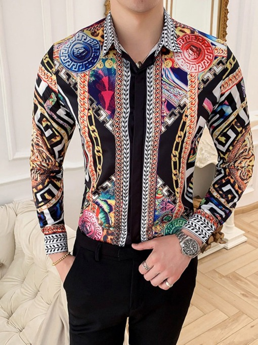 Color Block Lapel Print Fashion Slim Men's Shirt