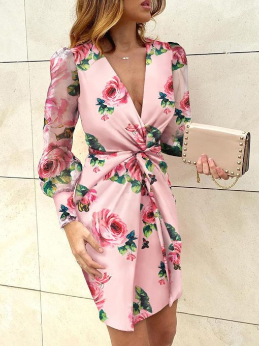 V-Neck Print Above Knee Long Sleeve Party/Cocktail Women's Dress