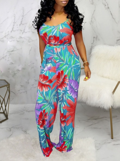 Western Plant Print Full Length Loose Women's Jumpsuit