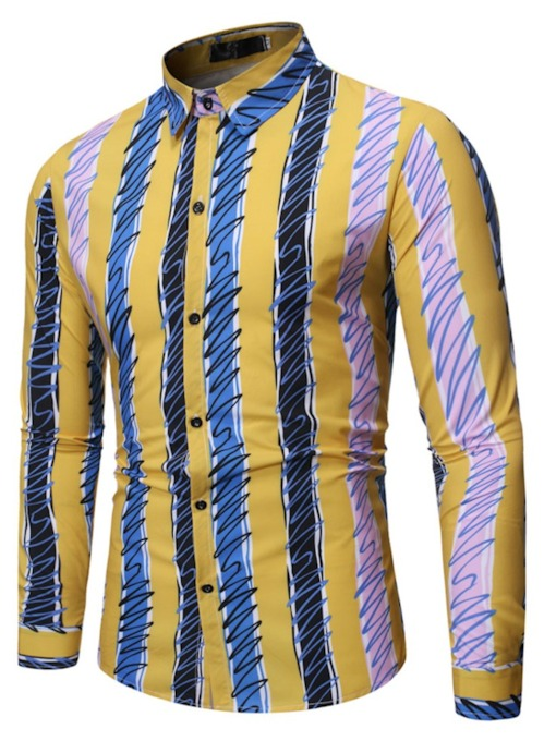 Stripe Casual Lapel Print Slim Men's Shirt