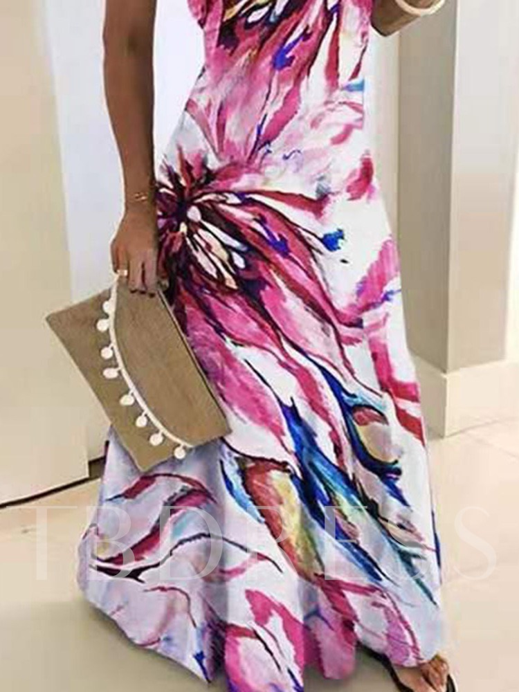 Prints Backless Floor-Length Sleeveless Spaghetti Strap African Fashion Women's Dress