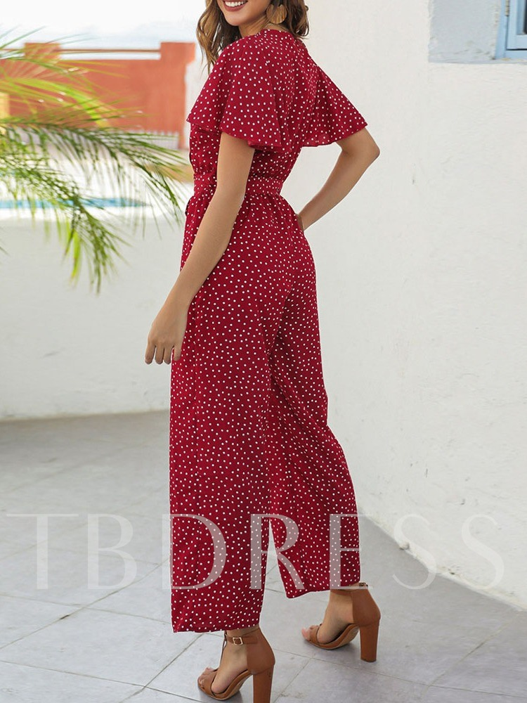 Polka Dots Western Ankle Length Print Loose Women's Jumpsuit