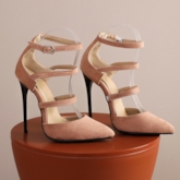 Stiletto Heel Line-Style Buckle Heel Covering Pointed Toe Hollow Sandals