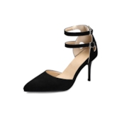 Stiletto Heel Heel Covering Pointed Toe Line-Style Buckle Plain Sandals