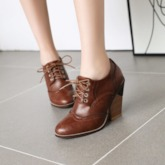Round Toe Lace-Up Front Chunky Heel Plain PU Boots