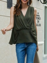 V-Neck Polyester Standard Casual Loose Women's Tank Top