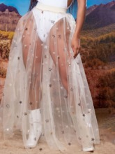 Star Floor-Length A-Line Mesh Western Women's Skirt