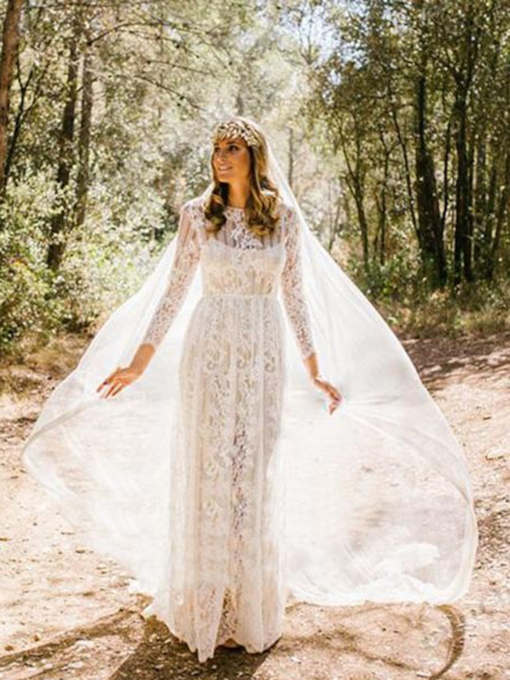A-Line Scoop Floor-Length Long Sleeves Beach Wedding Dress 2021