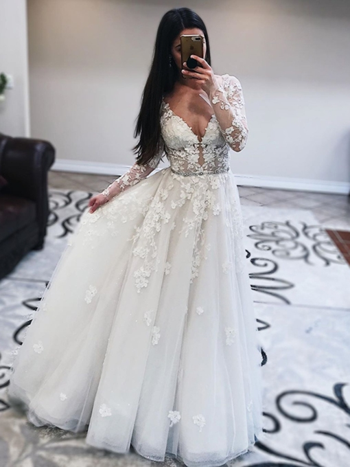 Appliques A-Line Floor-Length Long Sleeves Wedding Dress 2020
