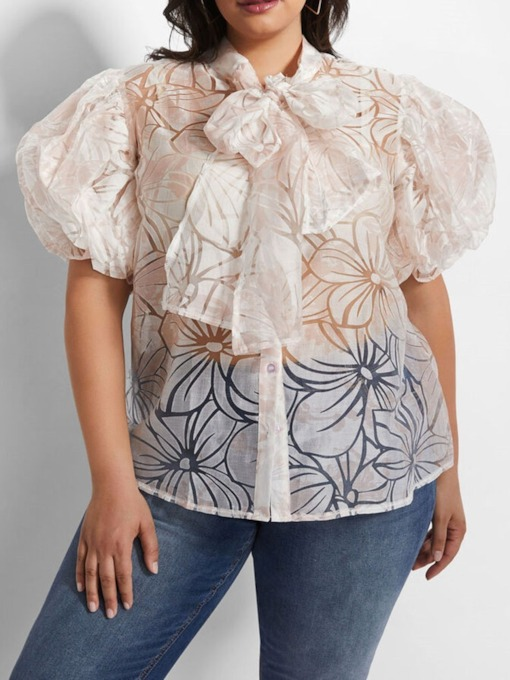Plus Size Bowknot Lantern Sleeve Stand Collar Short Sleeve Women's Blouse