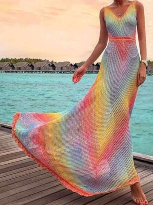 Floor-Length V-Neck Sleeveless Print Rainbow Casual Women's Dress