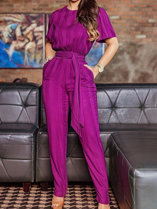 Lace-Up Office Lady Full Length Slim Women's Jumpsuit