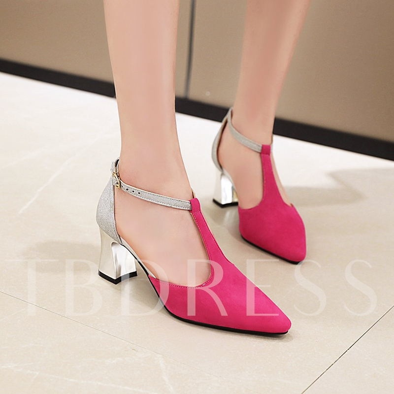 T-Shaped Buckle Chunky Heel Pointed Toe Low-Cut Upper Sandals