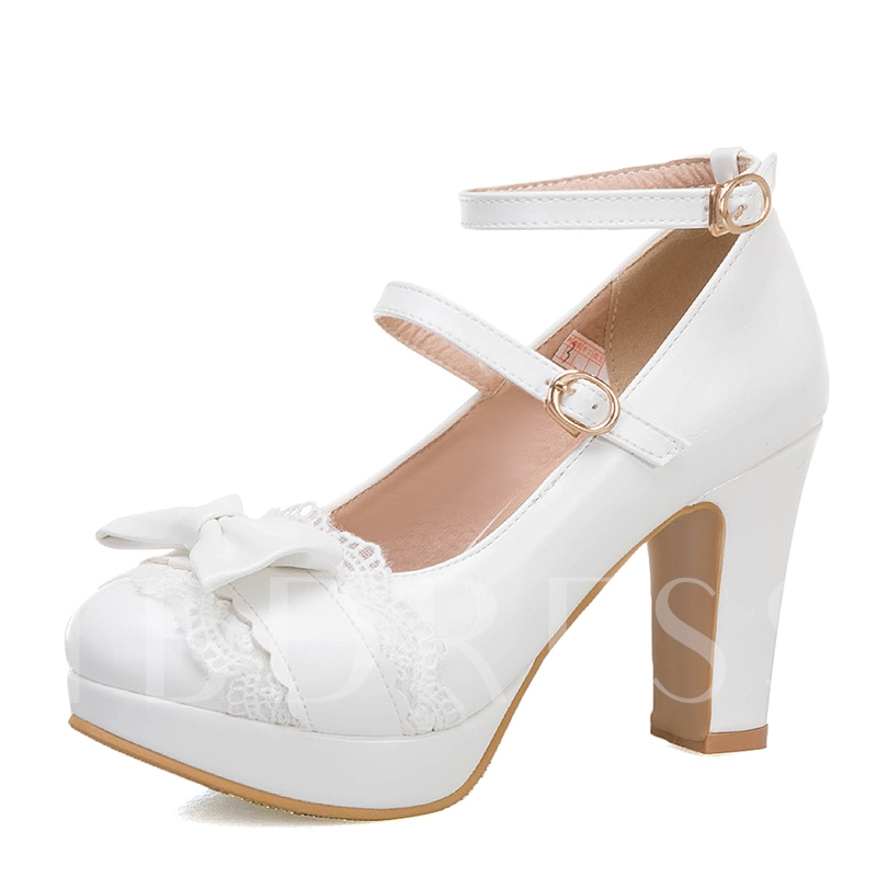 Lace Round Toe Chunky Heel Line-Style Buckle Casual Thin Shoes