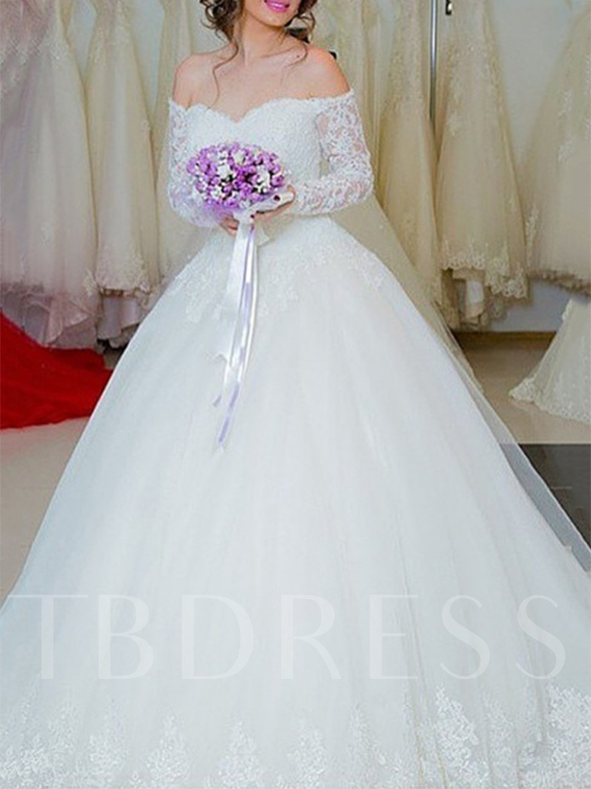 Long Sleeves Off-The-Shoulder Ball Gown Floor-Length Garden Outdoor Wedding Dress 2021