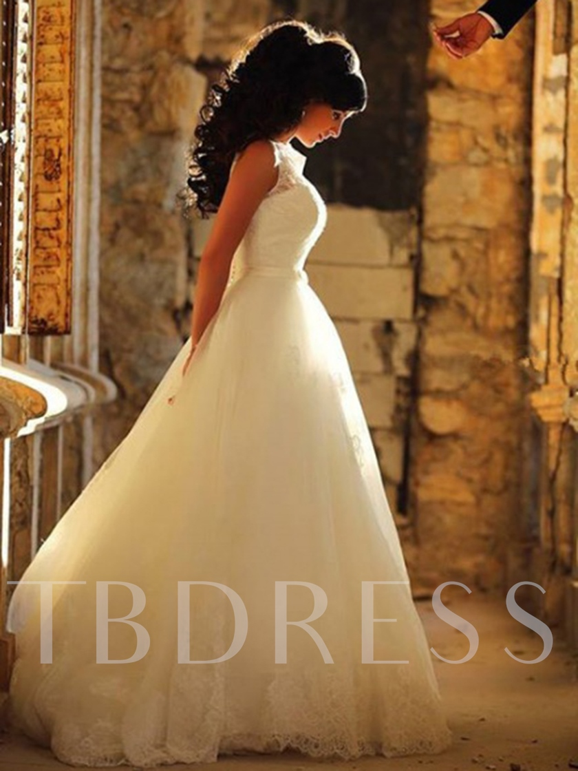 Sleeveless Straps Sweep Brush A-Line Garden Outdoor Wedding Dress 2021
