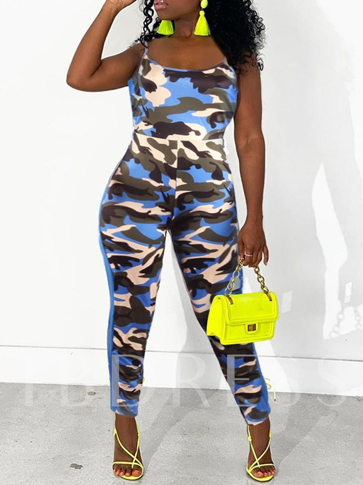 Sexy Print Ankle Length Camouflage Pencil Pants Women's Jumpsuit