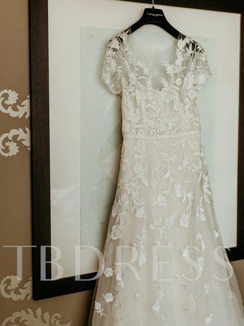 A-Line Appliques Scoop Short Sleeves Hall Wedding Dress 2021