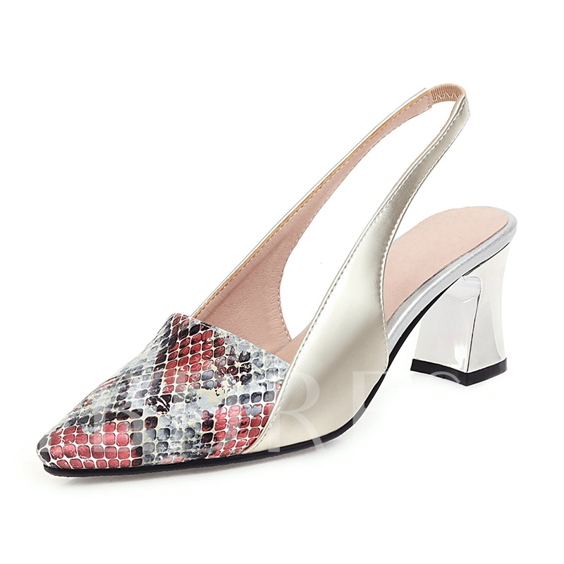 Chunky Heel Pointed Toe Slip-On Low-Cut Upper Sandals